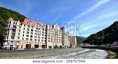 Krasnaya Polyana, Sochi, Russia September, 2014: View Of The Embankment Of The River Mtsesta, Krasna