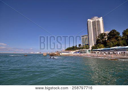 Sochi, Russia September, 2014: View Of The Beach In The Sochi, Russia