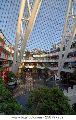 Astana, Kazakhstan July, 2015: View Of The Hall Of Commerce Entertainment Center Khan Shatyr Astana