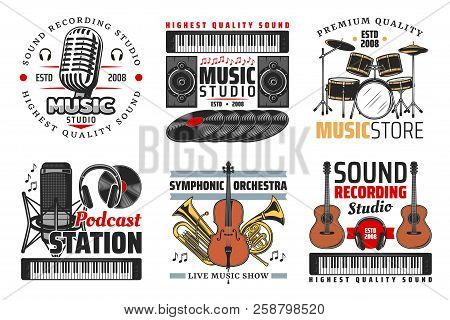 Music Shop, Sound Record Studio And Podcast Station Icons With Guitar, Microphone And Headphones, Dr