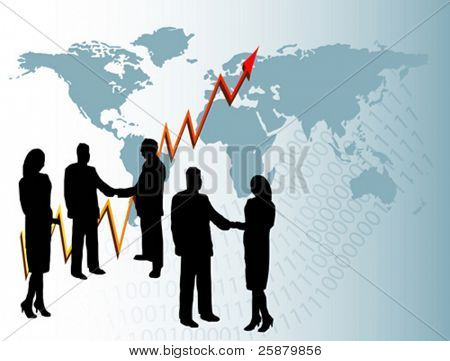 A  vector group of business people in silhouette shaking hands in front of a graph showing  year on year growth and a map of the world