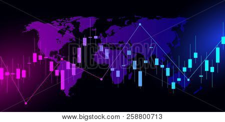 Business Candle Stick Graph Chart Of Stock Market Investment Trading On Dark Background Design. Trad