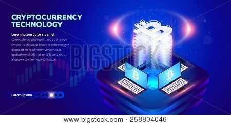 Isometric Cryptocurrency Technology Banner. Blockchain Technology, Cryptocurrency And A Digital Paym