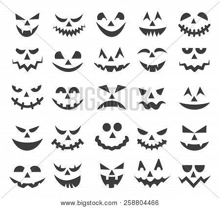 Halloween Ghost Faces. Scary Pumpkin Devils Smiles, Spooky Jack O Lanter Or Frightened Vampire Face