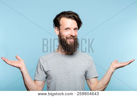 Emotion Face. Happy Smiling Hipster Man Holding Virtual Objects In Hands. Choice Selection And Compa