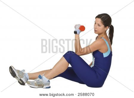 Woman Doing A Barbell Exercise