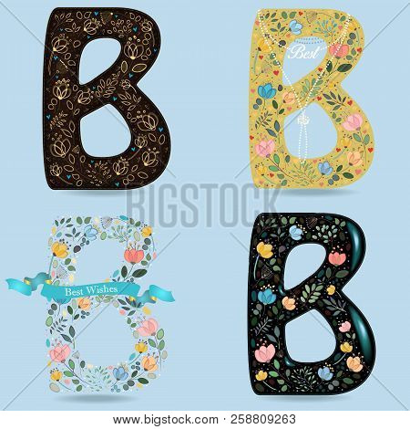 Floral Letters B. Graceful Flowers And Plants With Watercolor And Drawing Effects. Brown - With Gold