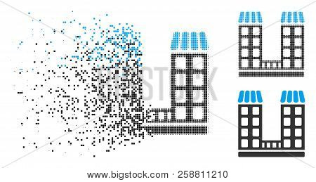 Company Buildings Icon In Dissolved, Pixelated Halftone And Entire Versions. Particles Are Organized