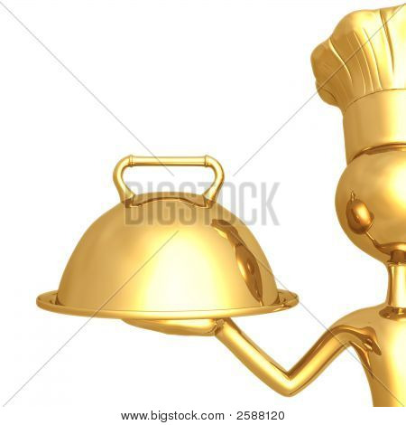 Golden Chef Serving Tray