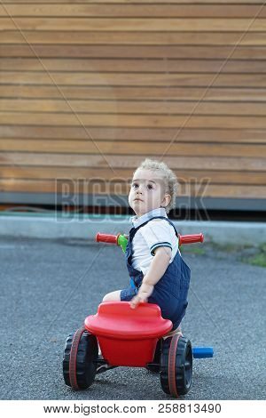 Two Years Old Boy Riding Trycycles Outdoor