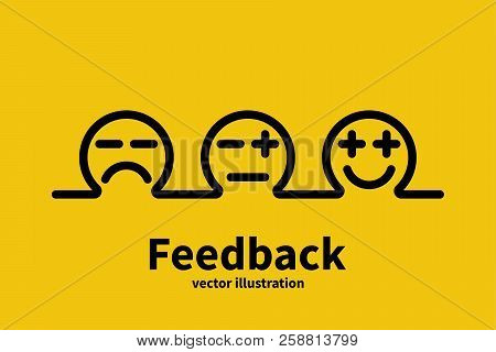 Feedback Concept Minimal Black Line Design. Choice Emotions Service Evaluation. Positive Review. Vec