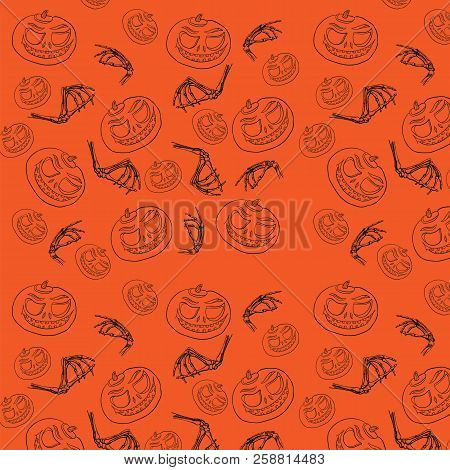 Seamless Pattern For Halloween. Pumpkin And Bones Are A Hand-drawn Sketch. Cartoon Face Of Pumpkin A