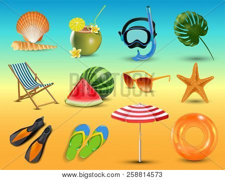 Vector Illustration Of Realistic Summer Holidays Seaside Beach Icons Set Isolated On Seaside Backgro