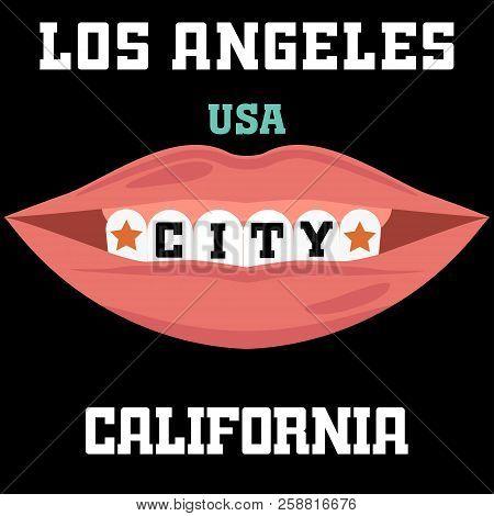 dc8429f68 Los Angeles Athletics typography stamp, California t-shirt vector emblem  graphics, vintage sport wear design illustration smile