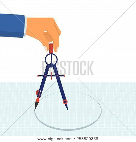 Hand With Compass For Drawing. Technical Tool Architect, Engineer. Compass Hold In Hand. Vector Illu