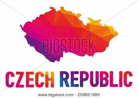 Low Polygonal Map Of The Czech Republic (ceska Republika) Also Known As Czechia (cesko) With Sign Cz