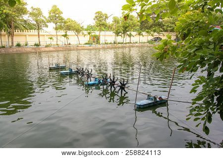 The Turbine In A Pond  Working Mechanical Oxygenation In Water.