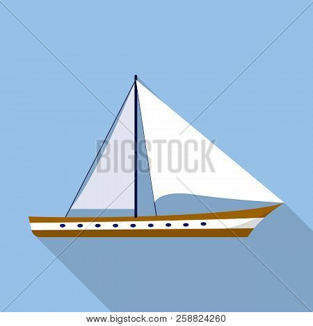 Sail Boat Icon. Flat Illustration Of Sail Boat Icon For Web Design