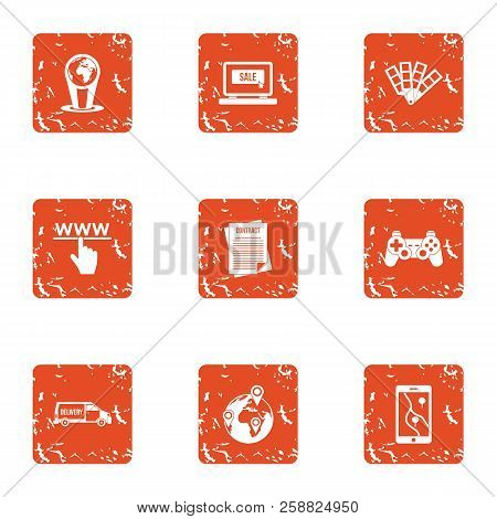 Www Deal Icons Set. Grunge Set Of 9 Www Deal Icons For Web Isolated On White Background