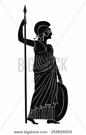 Ancient Greek Goddess Of War And Wisdom Athena Pallada With A Spear And Shield In Hands Isolated On