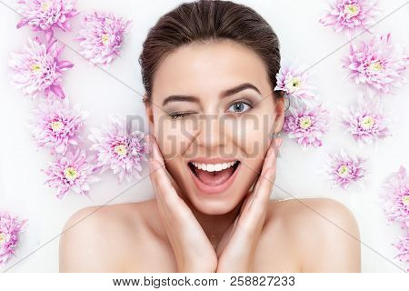 Portrait Of Young Sexy Beauty Female Woman Wow With Clean Pure Skin Taking Spa Relaxing In Bath With