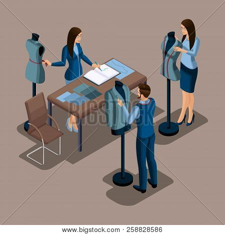 Isometric tailor, the creation of quality clothing to order, a workshop, an atelier. Tailoring. The entrepreneur working for himself, his own business set 1. poster