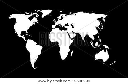 World Map With Clipping Path