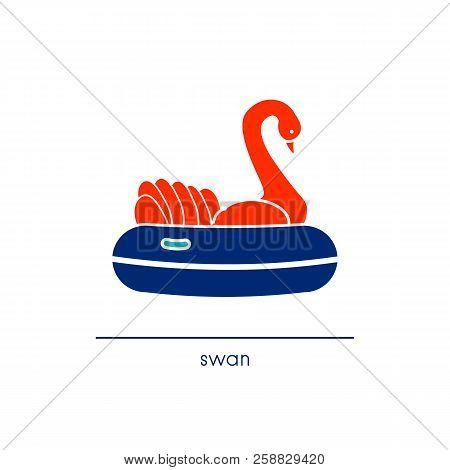 Line Art Style Swan Ride. Amusement Park Icon