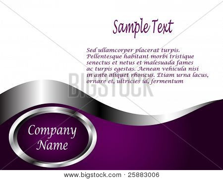 A deep purple, Silver and white vector Business card or Background Template