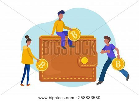 People Carrying Gold Coins With The Symbol B In Bitcoin Wallet, Flat Minimalist Styling. Vector Illu