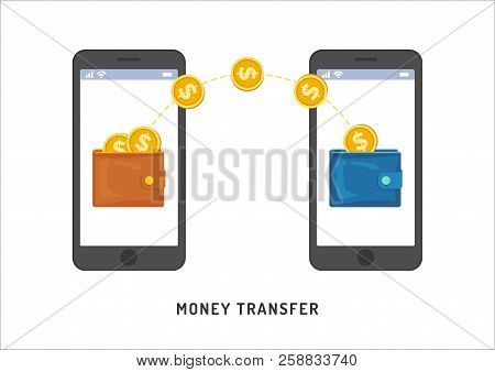 Money Transfer Between Wallets In Smartphones, Flat Styling. Vector Illustration Of Online Payment,