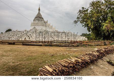 Historic White Pagoda Of Hsinbyume, Also Known As Mya Thein Dan Pagoda In Mingun, Myanmar