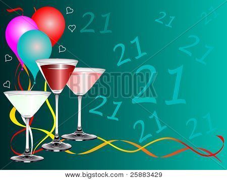 A twenty first birthday party background template with drinks glasses and balloons