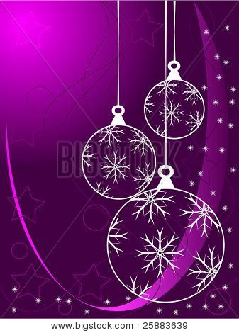 An abstract Christmas vector illustration with white outline baubles on a purle backdrop with white snowflakes and room for text