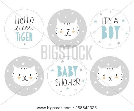 Lovely Baby Shower Round Shape Tag Set. Cute Little White Tigers With Tiny Stars On A Grey Backgroun