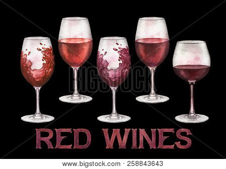 Watercolor Glasses Of Red Wines Isolated On White Background