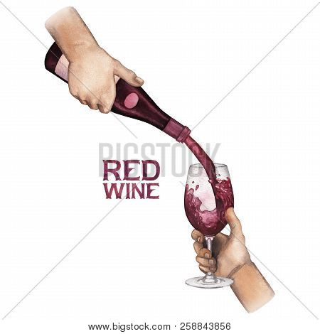 Watercolor Hand Pouring Red Wine From Bottle Into Glass.