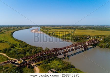 The Railway Bridge Over The River Rioni. Aerial Photography.