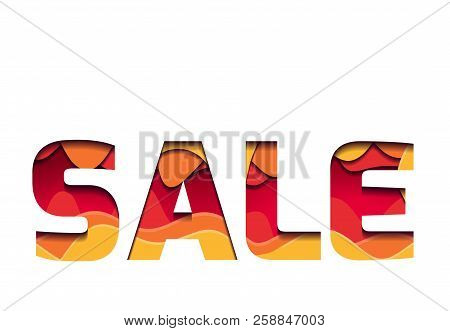 3d Inscription Of The Sale, Made Of Layers Of Paper. Multi Level Illustration. Vector Element For Ca