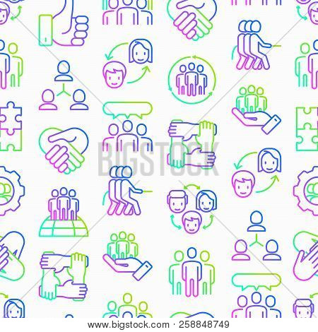 Teamwork Seamless Pattern With Thin Line Icons: Group Of People, Mutual Assistance, Meeting, Handsha