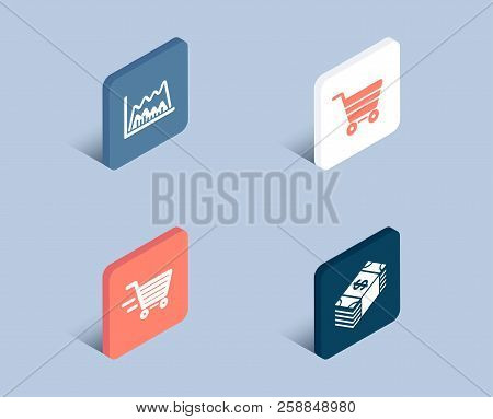 Set Of Delivery Shopping, Trade Chart And Market Sale Icons. Usd Currency Sign. Online Buying, Marke