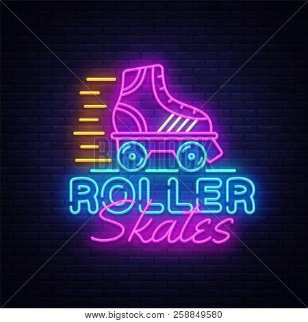 Roller Skates Neon Sign Vector. Retro Quad Roller Skates Neon Logo, Design Template, Modern Trend De