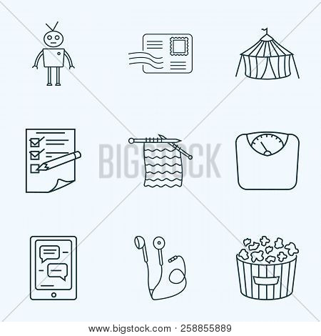 Hobby Icons Line Style Set With Planning, Postcrossing, Robots And Other Chatbot Elements. Isolated