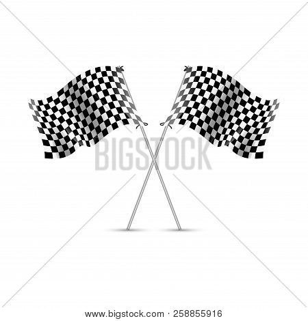 Checkered Race Flag Vector Sport. Auto Rally Competition. Speed And Finish Winner Race Checkered Fla