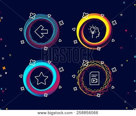 Set Of Star, Left Arrow And Idea Icons. Video File Sign. Best Rank, Direction Arrow, Professional Jo
