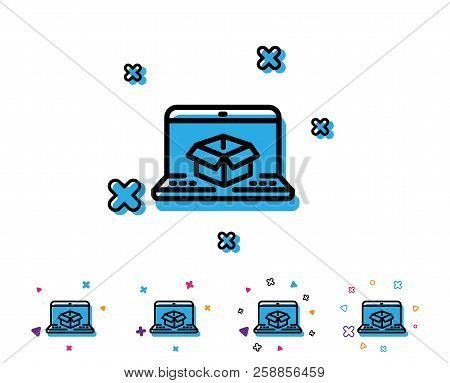 Online Delivery Line Icon. Parcel Tracking Sign. Logistics Website Symbol. Line Icon With Geometric