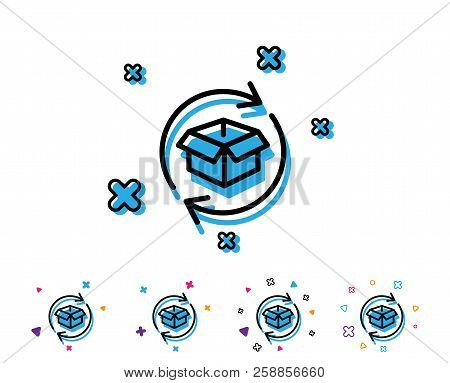 Exchange Of Goods Line Icon. Return Parcel Sign. Package Tracking Symbol. Line Icon With Geometric E