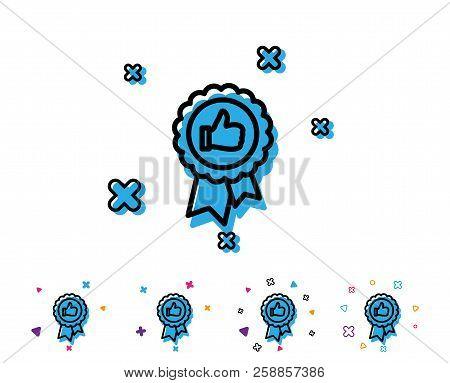 Positive Feedback Line Icon. Award Medal Symbol. Reward Sign. Line Icon With Geometric Elements. Bri