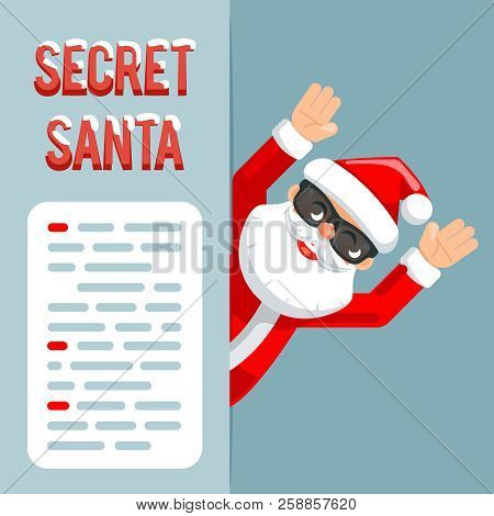 Discovered hands up surender give up revealed secret santa claus peeking out corner cartoon character flat design poster isolated vector illustration poster