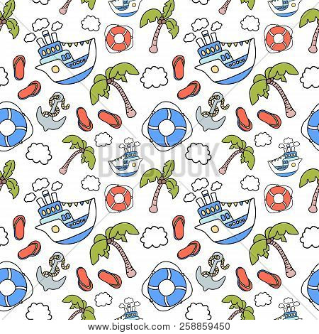 Cruise Liner Trip To Tropical Island. Vector Seamless Pattern On White Background. Marine Vacation A
